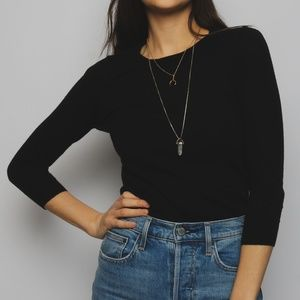 J Crew Fitted 3/4 Sleeve Black Sweater Size XS